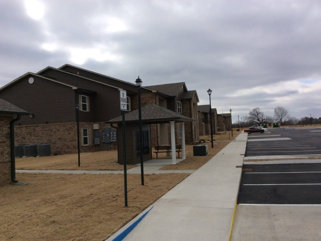 Marshall Gardens, Milan, TN, apartment buildings and mail facility long view