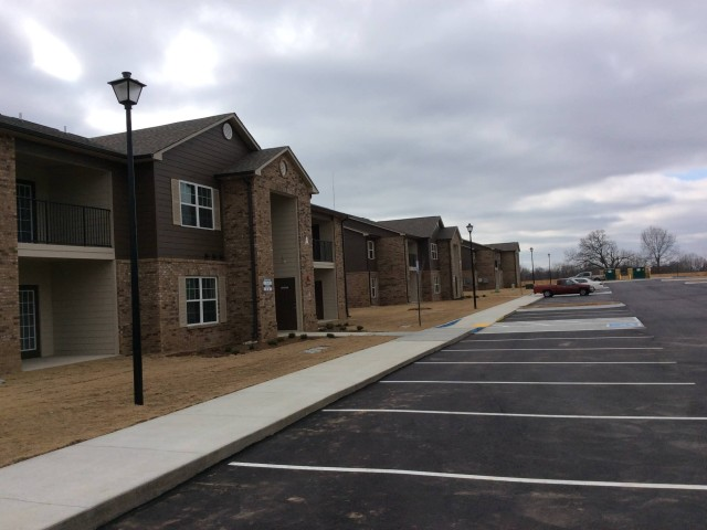 Marshall Gardens, Milan, TN, apartment buildings and parking lot long view