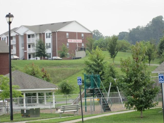Sage Meadows, Briston, TN playground slide and pavillion