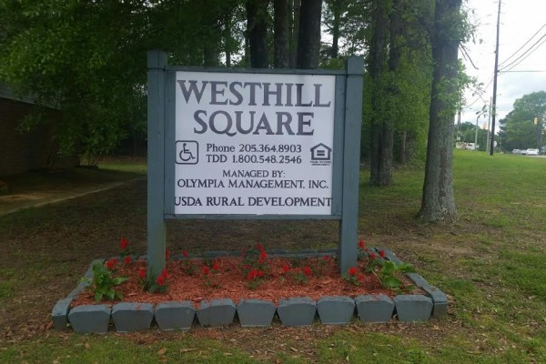 West Hill Square, Apartments, Gordo, AL sign