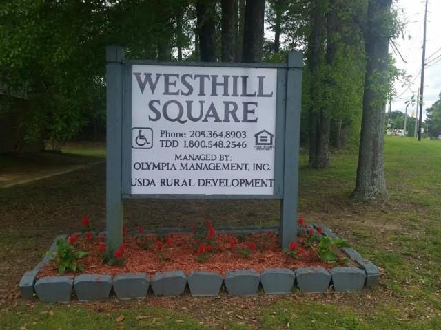 West Hill Square, Apartments, Gordo, AL sign