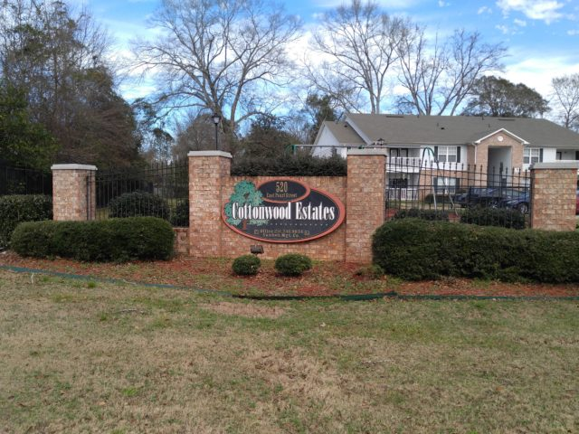 Cottonwood Estates, Jackson, AL sign at a distance